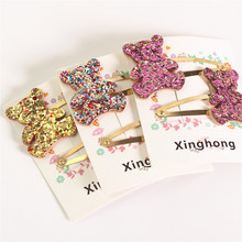 New cute shiny paillette hair grip sets for children butterfly crown heart star bear pattern clip ornaments hair wearing YT-64(China)