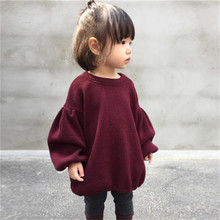 pudcooc Brands Baby Girls Sweaters Winter 2017 New Girl Long Sleeve Knitted Clothes Kids Autumn solid color Sweater For Girls(China)