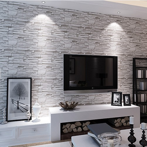 3D Stereoscopic Faux Stone Brick Village Wallpaper Roll Bedroom Living Room TV Background Print Wall-papers PVC Restaurant Good<br>