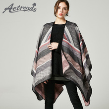 [AETRENDS] 2017 New Retro Stripes Ponchos and Capes Winter Scarf Women Brand Cashmere Feel Poncho Z-5485()