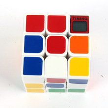 New Cube with Timer 3x3x3 PVC Sticker Block Puzzle Speed Magic Cube Colorful Learning&Educational Puzzle Cubo Magico Toys(China)