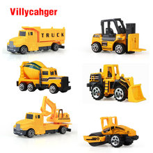 6pcs/set 1:64 Diecasts Mini Construction Vehicle Engine Alloy Model Car Baby Children Toy Car Hot Wheels Cars Machines Kid toy