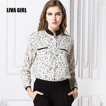 Free shipping hot summer spring Sexy slim printing collar women new chiffon female stars leopard long large size sleeve shirt(China)