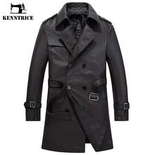 KENNTRICE OverCoat Winter Leather Coat Long Jacket Men Motorcycle Leather Jackets PU Trench Coat Men's Faux Leather Overcoats(China)