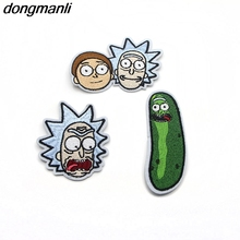 P1303 Dongmanli Rick and Morty Animated patches Embroidered Iron On Badge Movie Film TV Series cosplay costume diy badge(China)