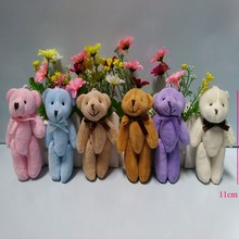 50PCS/lot, Joint Teddy Bear Plush Toy Doll 11CM Small Wedding Gift ; Key Chain TOY DOLL, 6 colors to choose or colors mixed(China)