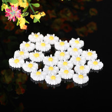 50pc/lot 12mm Flatback Ceramic Small Resin Daisy Sun Flower Beads Cabochon Diy Cell Phone Case Jewelry Craft Decoration Supplies(China)