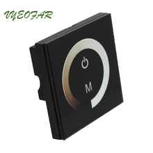 New TM06 Touch Panel LED Dimmer 12V Dimming Controller Wall Mount 12-24V 8A output Touchable Panel LED Single color Strip Dimmer(China)