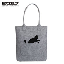 2087 New Arrive Women Shoulder Bags High Quality Felt Handbag Brand Design Shop Tote Bags Cute Cat Large Stylish Bag For Women(China)