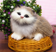 Hot sale ! basket cat toy / furry fluffy simulation cat mini and lovely ideal home car decoration children toy 12*11*10 cm(China)