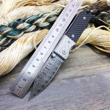 The carbon fiber Material Damascus Collection Outdoor Survival Camping Fixed Blade Knives Leather Sheath Pocket Folder Knives(China)