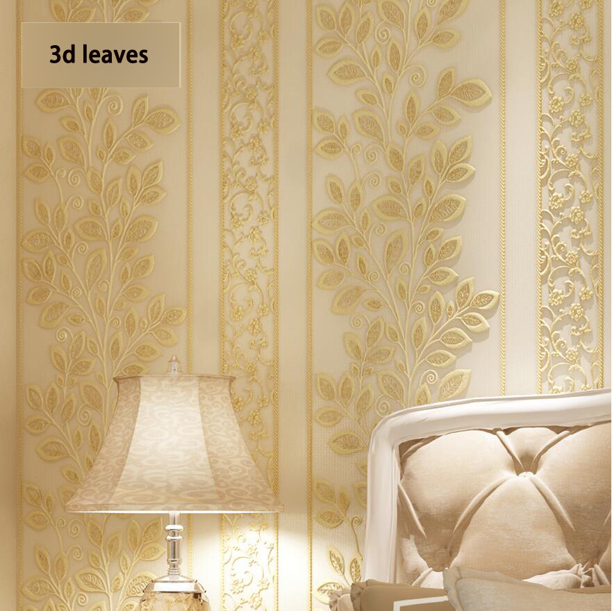 Fashion leaves eco-friendly 3d embossed luxury non-woven wallpaper tv background wallpaper<br>