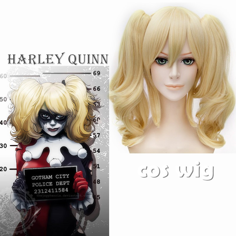 ECVTOP Suicide Squad Costume Harley Quinn  Wig harley quinn cosplay Blonde Two tone Ponytails Wig For Girl Costume<br><br>Aliexpress