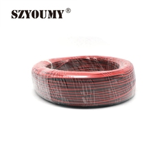 SZYOUMY 100M/lots 2 Pin Red Black PVC insulated Electric Cable LED Strip Lights Extension 22 AWG Wire DIY Connect Cord(China)