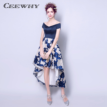 CEEWHY Floral Embroidery Asymmetrical Evening Dresses Elegant Evening Formal Dress Vestido de Festa Short Sleeve Evening Gown(China)