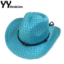 Hollow West Cowboy For Kids Summer Beach Caps Solid Western Cowboy Hat Children Sun Visor Cap With Wide Brim Boys Cowboy YY17156(China)