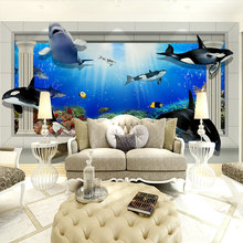 beibehang navy blue sea mural sea view papel de parede 3d wall decoration contact paper ocean murals 3d room wallpaper landscape(China)