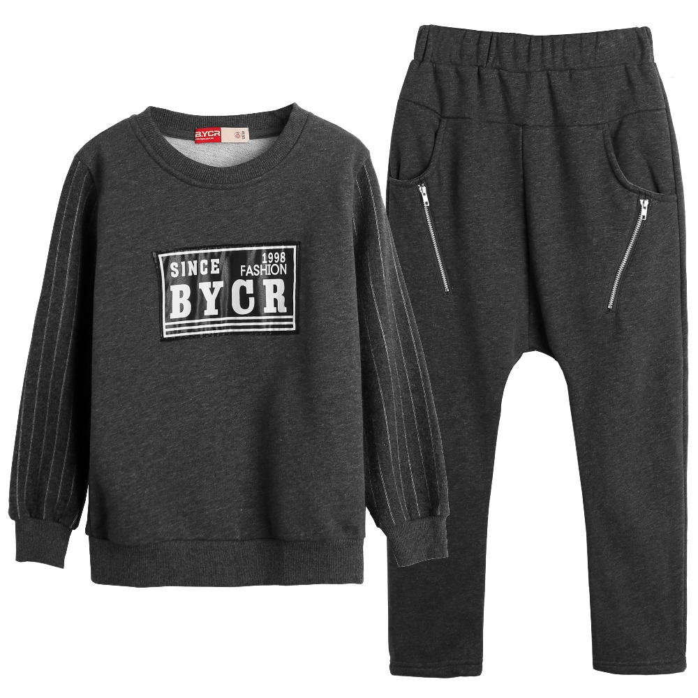 Knit Cotton Sweatshirt + Pants 2pcs Set Stretch Casual Long Sleeve Pullover Children Autumn for School Wear Kids Boys Tracksuit<br>