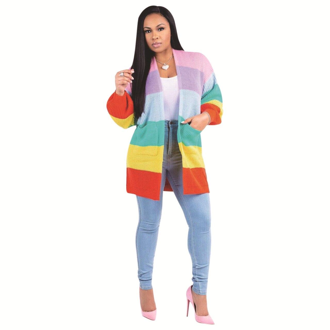 Winter frauen Kleidung, schöne Süße Regenbogen Streifen Lange Lose Hülse Pullover Winter Frauen Harajuku Pullover Pullover