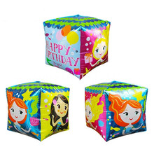 Solid Square Happy Birthday Princess Party Foil Balloons for Party Supplies birthday Animation Mermaid Happy children like toy