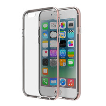 For iPhone 6 6S Dual Protection Aluminum Edge with Soft Bevel Texture TPU Mobile Phone Case Cover for iPhone 6 6S Anti-Knock