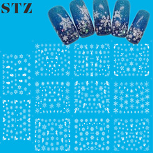 1set 11designs Fancy White Flower Christmas Styles Nail Art Stickers Decals DIY Tips Nails Water Transfer Tattoos Tools D260-270