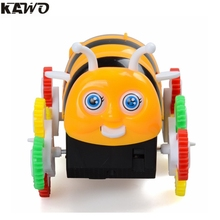 KAWO Box Car Kids' Electric Toys Stunt Cars Little Bee Tumbler Colorful Orignal Box Best Gift For Children (2Ages+)(China)