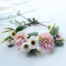 Women Girl Rose Flower Crown Wreath Wedding Bridal Artificial Flower Headband Tiara Hair Floral Hair band Hair accessories(China)