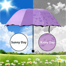 windproof umbrella rain women color changing umbrella sunshade Folding umbrella parasol bloom flower mini pocket umbrella gifts
