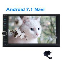 Android 7.1 2din Car Stereo GPS Navigation Autoradio Bluetooth Dual Cam-in with Free Rear Camera Headunit support Wifi/4G USB/SD