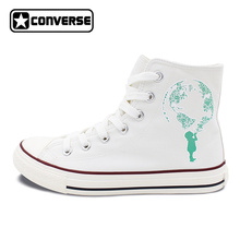 White Converse All Star Shoes Design Environmental Protection Green Globe High Top Lace Up Flats Canvas Sneakers