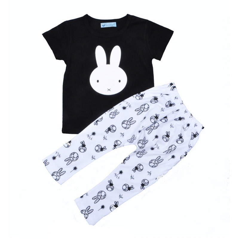 New summer girl kids clothing set lovely bunny pattern t-shirt+rabbit printed pant 2pcs kids girl boy set summer  brand boy baby<br><br>Aliexpress