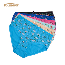 Buy YOUREGINA Plus Size Underwear Women Sexy Floral Print Briefs Cotton Ladies Panties Mid Waist Breathable Lingerie 2-4XL 6pcs/lot