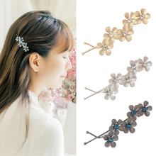 Women's Flower Hair Clip Barrettes Hairpins Hair Accessories Headwear Girl Floral Clamps Hairgrip Rhinestone Hairclip Headdress(China)
