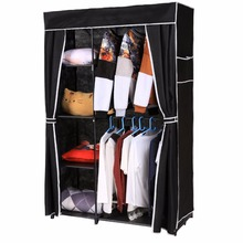Homdox Non Woven Folding Wardrobe Shelves Hanging Bar Shoes Clothes Organizer Closet Bedroom Furniture #25-25