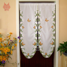 American style hollow floral butterfly embroidery finished door curtain half-curtain House decoration Partition curtain 2017 gif