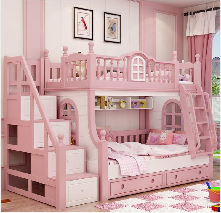 Mm Bunk Bed Pink Childern Bed Solid Wood Bady Fluctuation Bed