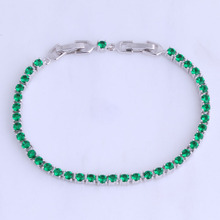Love Monologue Elegant Green Imitation Emerald Silver Color Charm Bracelets for Women Chain Long 19CM B0012
