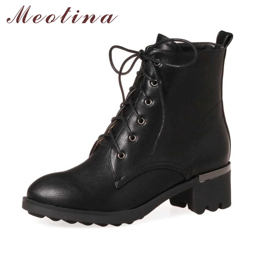 Meotina Winter Women Ankle Boots Thick Heel Motorcycle Boots Lace Up Short Boots Punk Martin Shoes Black Red Gray Big Size 33-43<br>