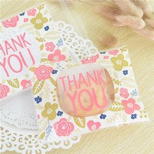 100pcs/lot Candy Packaging Bags Wedding Gift Soap 10x13+3cm Thank You Style OPP Christmas Cookie Baking Package Bag