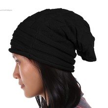 European Style Elegant Women Hat Winter Fall Beanies Knit Crochet Hats Ladies Female Fashion Oversized Slouch Cap 63(China)