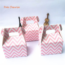 12pcs/lot (Pack of 12) Pink Chevron Paper Bags Horn Candy Boxes Treat Children Birthday Wedding Party Favors