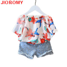 2017 Girls Clothes Suit Chiffon Blouse and Denim Shorts 2pcs / Set Fashion Word Collar Strapless Shirt Diamond Children's Suit