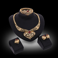 2017 Gold Color Turquoise Jewelry Sets For Women Heart Statement Necklace Earrings Bangle Ring 4Pcs Set bruids ketting