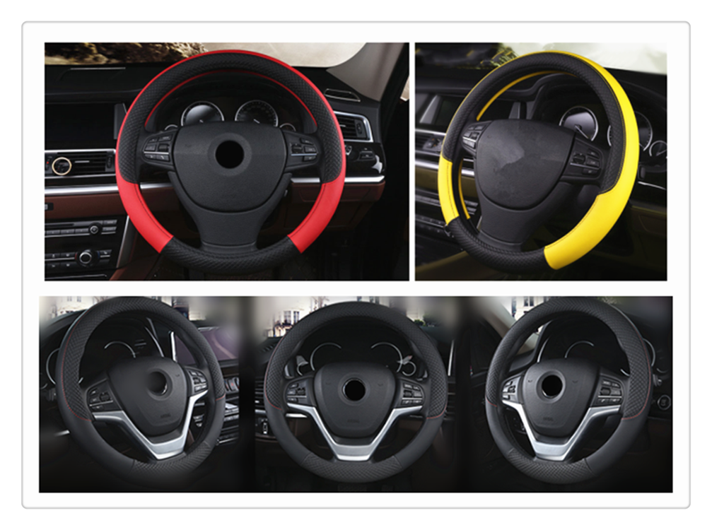 High quality PU leather car interior steering wheel cover 38 cm weave for Hyundai HND-3 Veloster i10 LPI 30blue R cee d ix