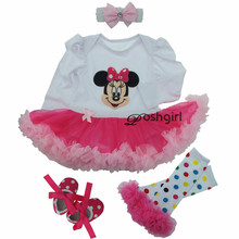 2017 Christmas Gifts Newborn Baby Costumes Kids Romper Girls tutu Dress+Headband+Leggings+Shoes Set Toddler Mickey Clothes 0-12M