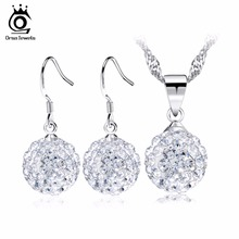 ORSA JEWELS Luxury Austria Crystal Silver Shamballa Jewelry Sets Silver Color Earrings&Pedant Necklaces Set OS06