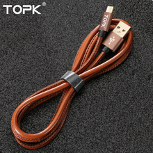 Topk Premium Leather Braided Aluminum Alloy Casing Gold-plated 2.4A Fast Charging Micro USB Cable for Xiaomi Samsung Huawei HTC