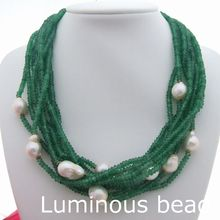 "20"" 10 Strands Faceted GreenStone White Keshi Pearl Necklace"