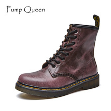 Cool Women Boots Boyfriend Martin Boots Shoes for Woman 2017 Autumn Lace Up Real Leather Female Land Shoes zapatos mujer